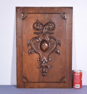 *Antique French Panel in Solid Oak Wood with Heart Salvage