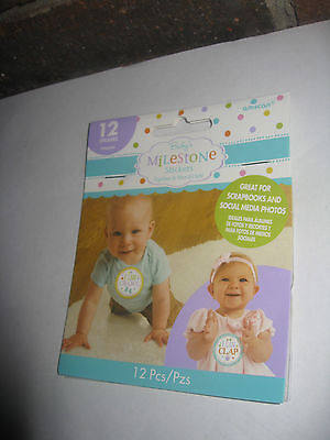 Amscan Cute Baby's Milestone Stickers Set of 12 for Each Month Sealed New!