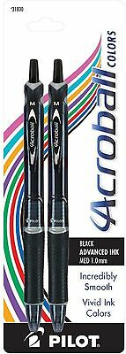 Pilot Acroball Colors Retractable Ink Medium Ball Point Pens, Black 2 ea