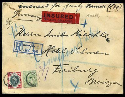 INSURED Foreign Registered 1911 KEVII SG218/259 London to Freiburg