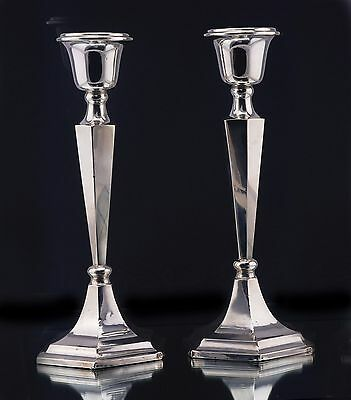 Antique Silver Candlesticks Hallmarked Chester 1913 Solid Silver
