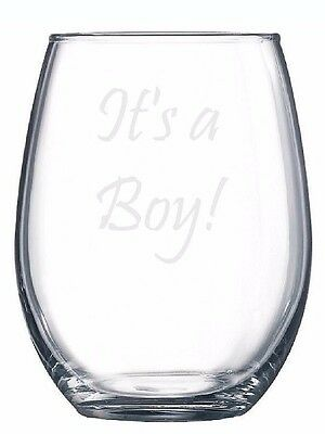 It's A Boy Etched Engraved Glass Gift Baby Shower Reveal Beer Wine Pint Pilsner