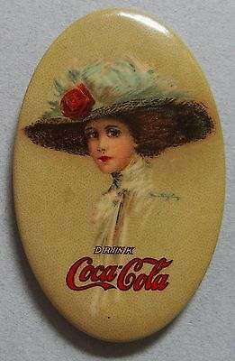 Very Rare 1910 Coca Cola Celluloid Advertising Pocket Mirror Beautiful Girl Mint
