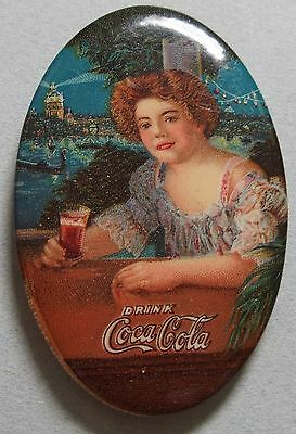 Very Rare 1909 Coca Cola Celluloid Advertising Pocket Mirror Beautiful Girl Mint