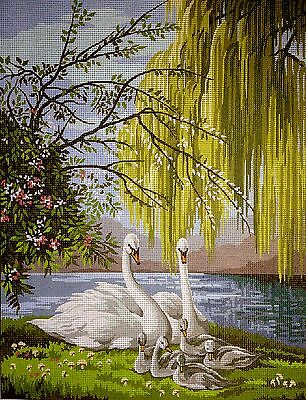"Gobelin Tapestry Needlepoint Kit ""Swans""  printed canvas 236"