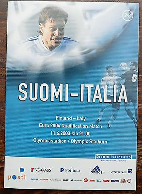 Finland v Italy 2003 Euro qualifier programme