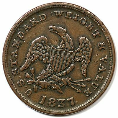 1837 Low-49 HT-73 R-2 Half Cent Worth of Copper Hard Times Token