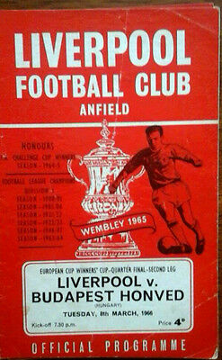 Liverpool V Honved 8/3/1966 European Cup Winners Cup
