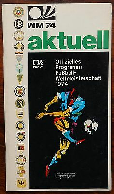 World Cup 1974 Official tournament supplement brochure - WM 74 aktuell
