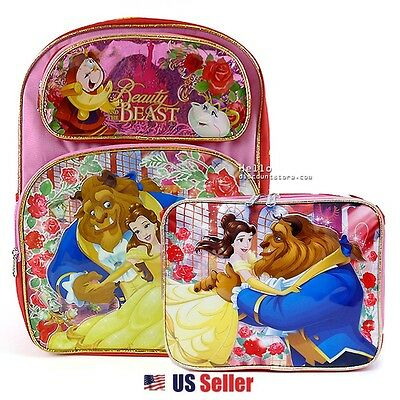 "Disney Beauty and the Beast 16"" Large School Backpack Bag and Lunch Bag"