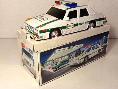Vintage 1993 HESS TRUCK RESCUE VEHICLE Police Car Toy Vehicle - WORKING!