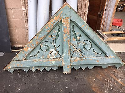 "circa 1880's Victorian gingerbread house gable pediment - old teal paint 77""x43"""
