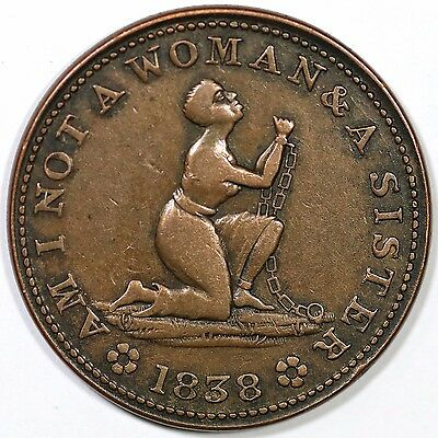 1838 Low-54 HT-81 Am I Not A Woman And A Sister Hard Times Token
