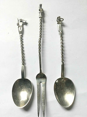 Antique European  Silver coffee/ tea spoons & fork with figured handles