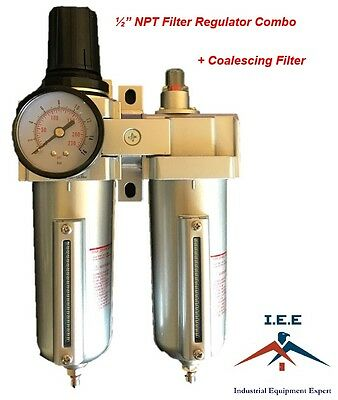 "1/2"" Heavy Duty Combo Particulate & Coalescing Filter Regulator Compressed Air"