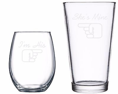 I'm His She's Mine Etched Engraved Glass Wine Beer Wedding His Hers Gift Love