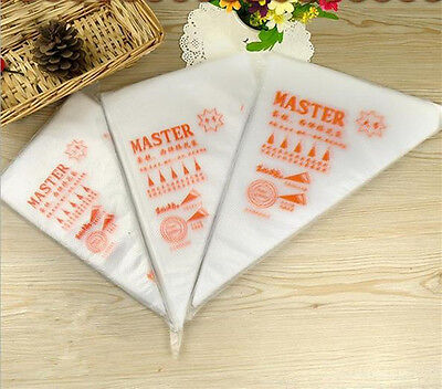 100 Pcs Plastic Disposable Icing Piping Pastry Bags Bag Cake Decorating Tools