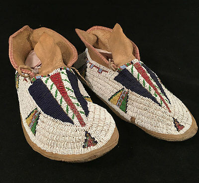 Late 19th Century Sioux or Cheyenne Beaded Moccasins