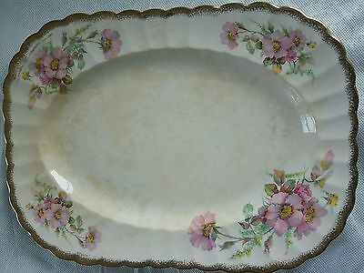 "Vintage Wild Rose Golden Ware Sebring 22k gold 13×9.5"" SERVING TRAY MRF defects"