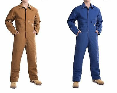 $379 Carhartt Flame-Resistant Duck Coveralls - Insulated L brown blue