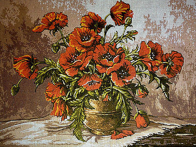 "Gobelin Tapestry Needlepoint Kit ""Flowers"" printed canvas 146"