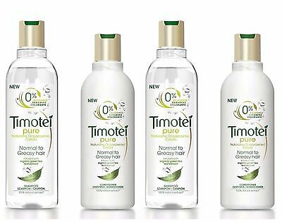2 X Timotei Pure Shampoo 250Ml + 2 X Conditioner 200Ml Normal To Greasy Hair