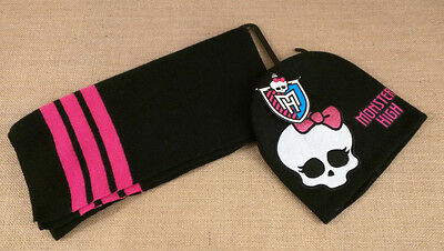 Monster High Black and Pink Hat Scarf Set Girls One Size New