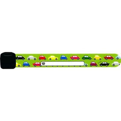 Infoband Childrens Reuseable Identity Wristband Green Cars