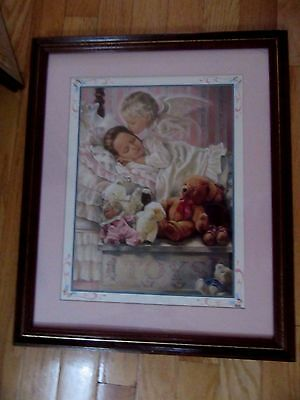 Home Interior Angel kissing a girl in bed w Teddy Bear & doll
