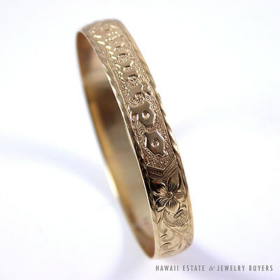 "14K Yellow Gold ""kuuipo"" Sweetheart Hawaiian Gold Bangle (Sm - Md)"