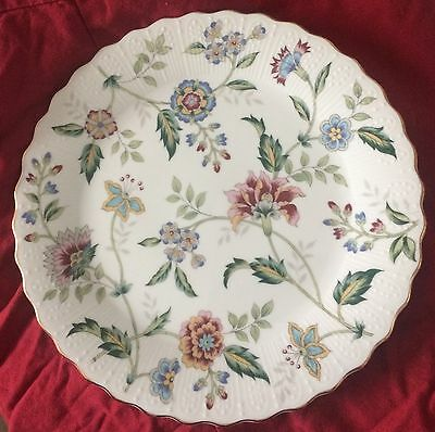 "Andrea by Sadek 10.5"" Floral Plate Gold Rim Flowers Scalloped Edges"