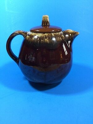 Hull Brown Drip Teapot w/Lid Ovenproof Made in USA Pottery