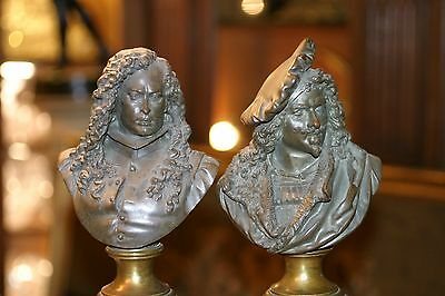 Pair  Of French Patinated Bronze  Figuriine Rembrandt, Murillo  S. Carrier 19C