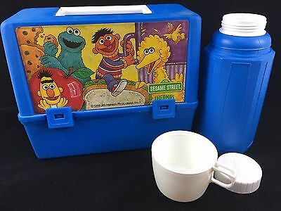 Vintage Sesame Street Kids Blue Plastic Lunch Box and Thermos Cartoon TV Show