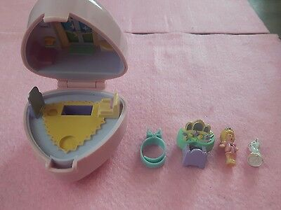 Rare 1991 Vintage Polly Pocket Ring Compact Case Pollys Big Night Out Figure Cat