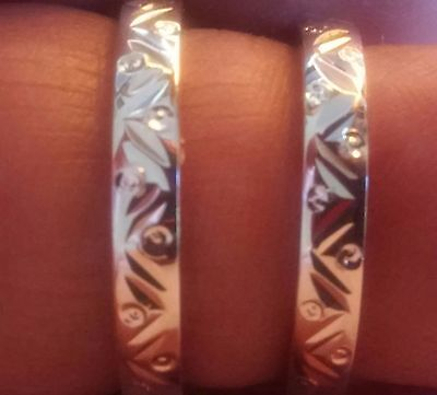 New His & Her Solid Sterling Silver Wedding Band/ring Set ((206))