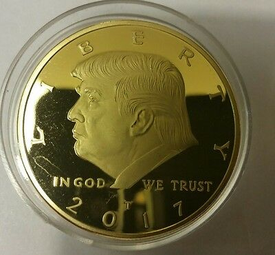 President Donald Trump 2017 24k gold plated EAGLE Novelty Coin, money, note,