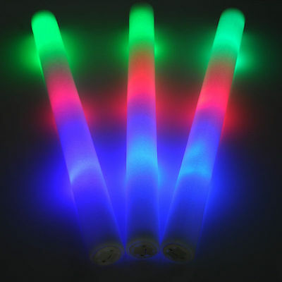 24 PCS LED Light Up Foam Sticks Rally Rave Cheer Tube Soft Glow Baton Wands NEW!