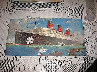 """Vintage R.M.S. """"QUEEN MARY""""  Jigsaw Puzzle  (pcs missing)"""