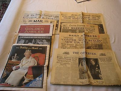 Lot of Newspapers about Queen Elizabeth  Wedding, Jubilee, more