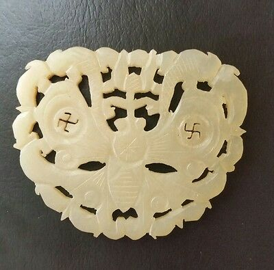 Antique Asian Handcarved White Jade Good Luck Charm Token Moth Bee Butterfly