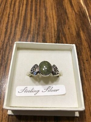 Sterling Silver Celtic Connemara Marble Ring Size 8