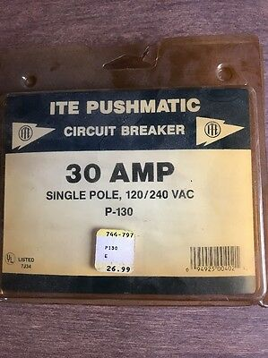 ITE  PUSHMATIC Circuit Breaker, 30 Amp, Single Pole, P-130, New In Package