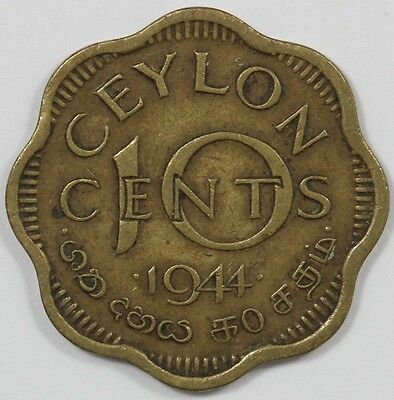 1944 George VI Ceylon 10 Cent Coin - COMBINED POSTAGE AVAILABLE