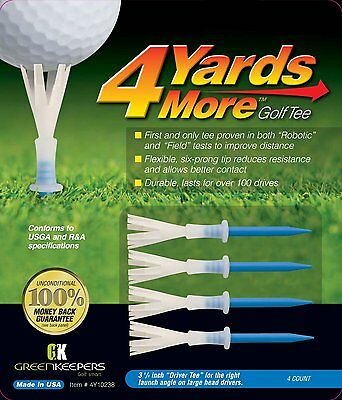 4 Yards More - Blue Driver Golf Tees 3 and 1/4 Inch tees - Improve your distance