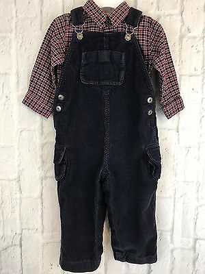 25cacf481c4c Small Creations Lord And Taylor Blue Corduroy Overall Plaid Shirt Set Size  18M