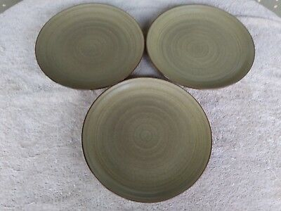 "222 Fifth Studio Khaki Dinner Plates 10.5"" Set of 3"