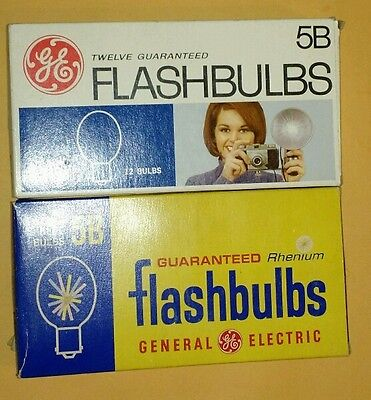 Two Vintage Boxes of GE 5B Flashbulbs New Old Stock Untested