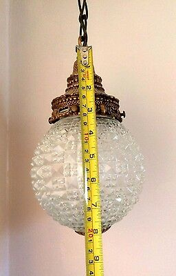 Vintage Regency Glass Prism Swag Chandelier Lamp Light fixture and Chain