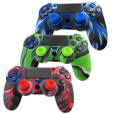 for PlayStation 4(PS4) Controller Silicone Grip Cover Case Skin +2 Joystick Cap